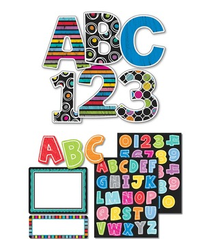 Colorful Chalkboard Large and Small Letters Set SALE 20% O