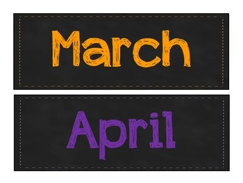 Colorful Chalkboard Months of the Year Signs