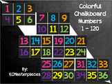 Colorful Chalkboard Numbers 1 - 120 Signs