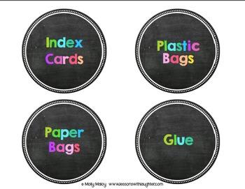 Colorful Classroom Organization Labels {Chalkboard}