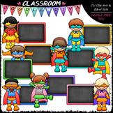 Colorful Chalkboard Superhero Kids Clip Art & B&W Set
