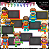 Colorful Chalkboard Superhero Kids Clip Art & B&W Set