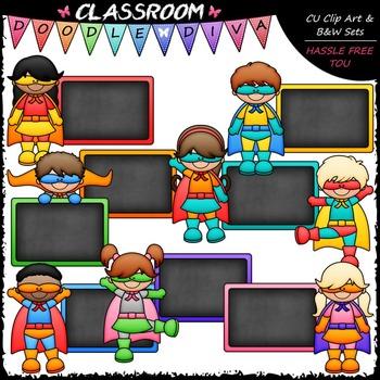 Colorful Chalkboard Superhero Kids Clip Art