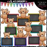 Colorful Chalkboard Teddy Bears - Clip Art & B&W Set