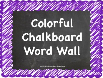 Colorful Chalkboard Word Wall