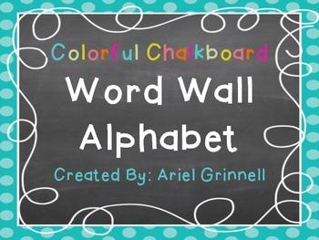 Colorful Chalkboard Word Wall Alphabet