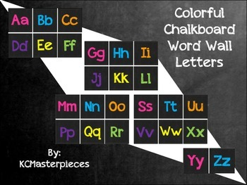 Colorful Chalkboard Word Wall Letters of the Alphabet
