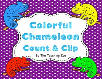 Colorful Chameleon Count & Clip 1-20 Task Cards