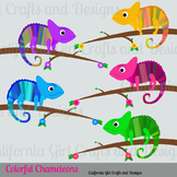 Colorful Chameleons Clip Art Set - Perfect for Classroom Crafts!