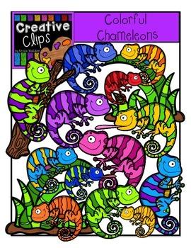Colorful Chameleons {Creative Clips Digital Clipart}