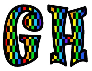 Colorful Checkered Alphabet Bulletin Board Letters