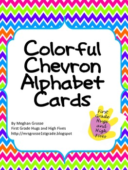 Colorful Chevron Alphabet Cards w/ Pictures
