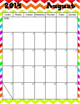 Colorful Chevron 2014-2015 Calendar w/ Holidays