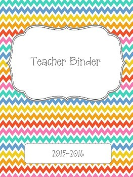 Colorful Chevron 2015-2016 Teacher Binder Planner