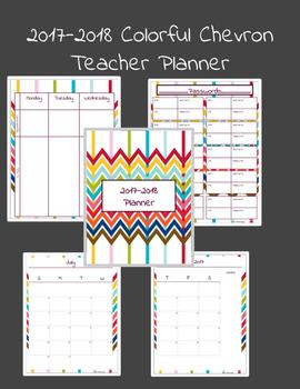 Colorful Chevron 2017-2018 Weekly/Monthly Teacher Planner