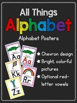 All Things Alphabet: Colorful Chevron Alphabet Posters
