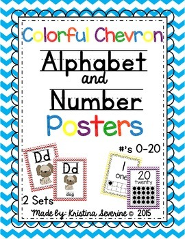 Colorful Chevron Alphabet and Number Posters