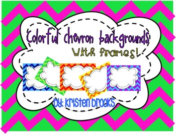 Colorful Chevron Backgrounds with FRAMES! (Personal and Commercial Use)