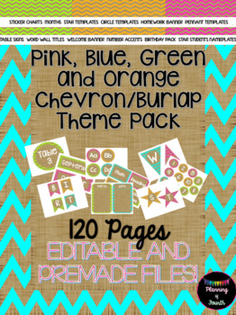 Colorful Chevron Burlap Classroom Theme Set-EDITABLE