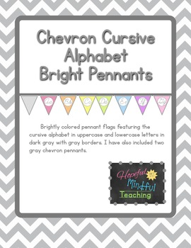 Colorful Chevron CURSIVE Alphabet Pennants