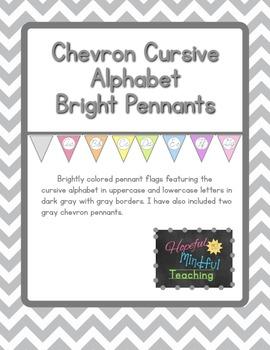 Colorful Chevron CURSIVE Alphabet Pennants