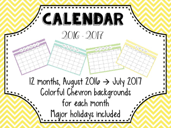 Colorful Chevron Calendar!