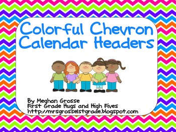 Colorful Chevron Calendar Headers