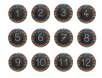 Colorful Chevron Chalkboard Classroom Numbers!