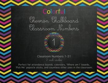 Colorful Chevron Chalkboard Classroom Numbers!