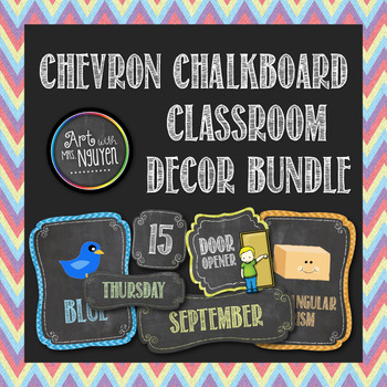 Classroom Theme Bundle: Colorful Chevron Chalkboard (Class