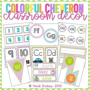 Colorful Chevron Classroom Decor