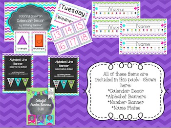 Colorful Chevron Classroom Decor Mega Bundle