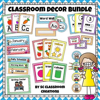 Colorful Chevron Classroom Decor Set (Mega Bundle)