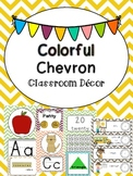 Colorful Chevron Classroom Decor and Organization Pack (editable)