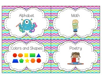 Colorful Chevron Classroom Library Cards