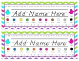 Colorful Chevron D'Nealian Name Plates EDITABLE!