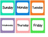 Colorful Chevron Days of the Week Calendar Cards