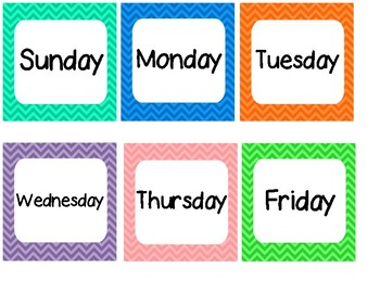 Colorful Chevron Days of the Week Calendar Cards by Kayla ...