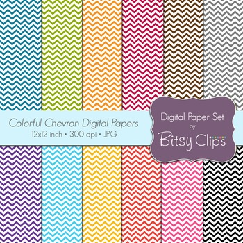 Colorful Chevron Digital Paper SetCommercial Use Clip Art