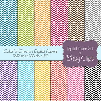 Colorful Chevron Digital Paper SetCommercial Use Clip Art