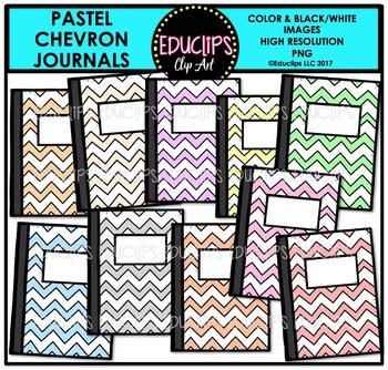 Colorful Chevron Journals Clip Art Bundle {Educlips Clipart}