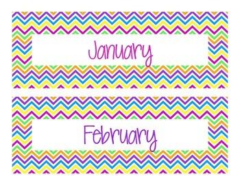 Colorful Chevron Month Labels!