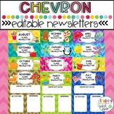 Colorful Chevron Monthly Classroom Newsletter Templates Editable