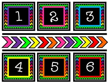Colorful Chevron Numbers 1-100 and Zero, Too!