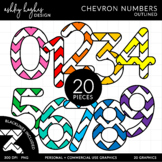 Colorful Chevron Numbers Clipart {A Hughes Design}