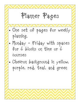 Colorful Chevron Planning Pages
