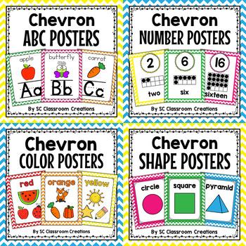 Colorful Chevron Poster Bundle-Classroom Decor
