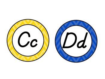 Colorful Chevron Word Wall Alphabet Circles - D'Nealian / Modern Manuscript Font