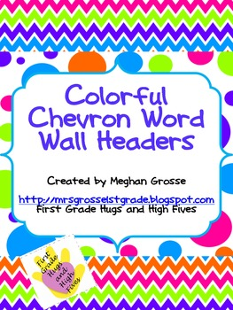 Colorful Chevron Word Wall Headers