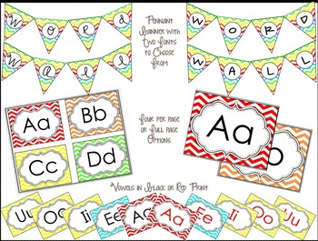 Colorful Chevron Word Wall Headers {Pennant Banner Included}